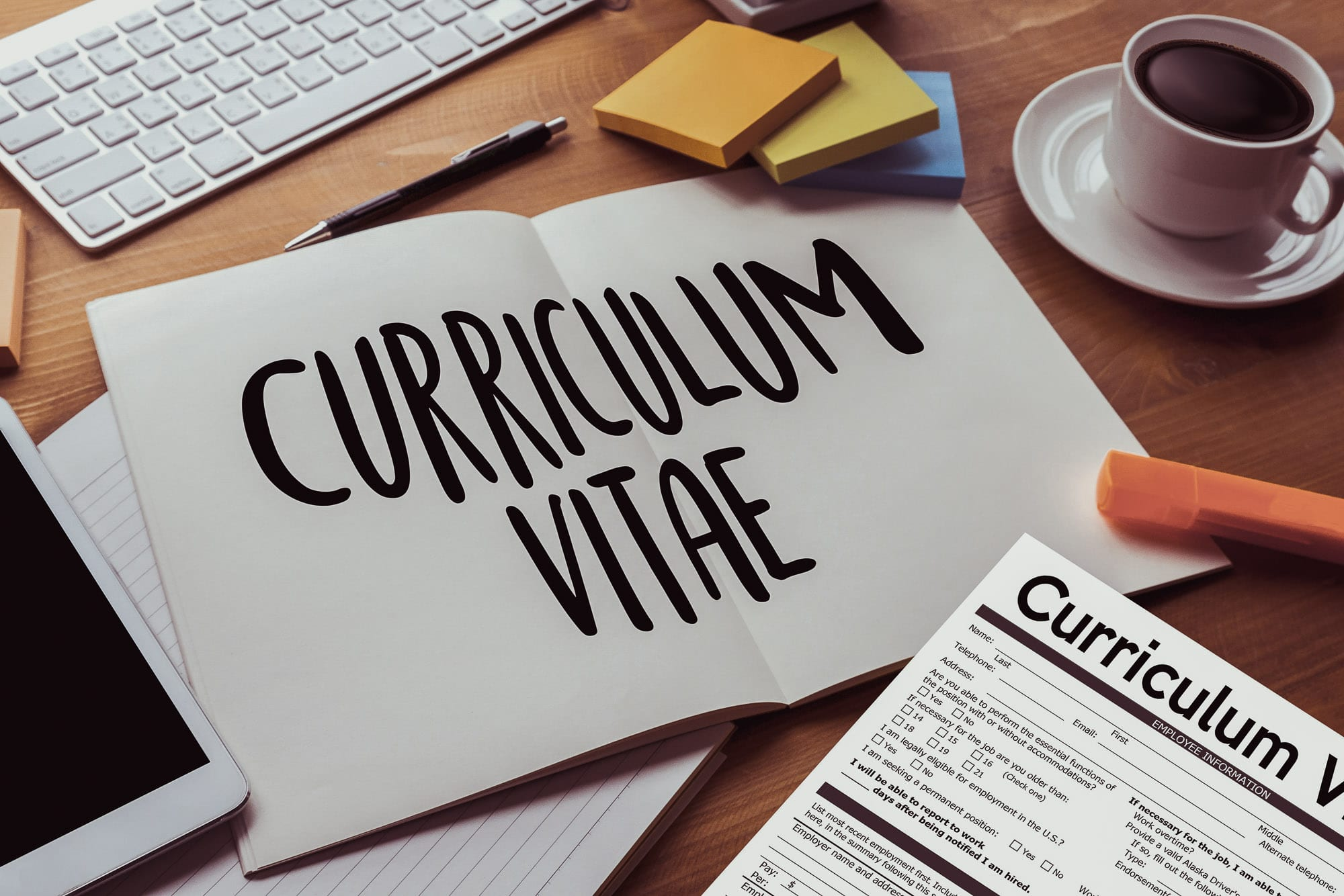 CV paper on table
