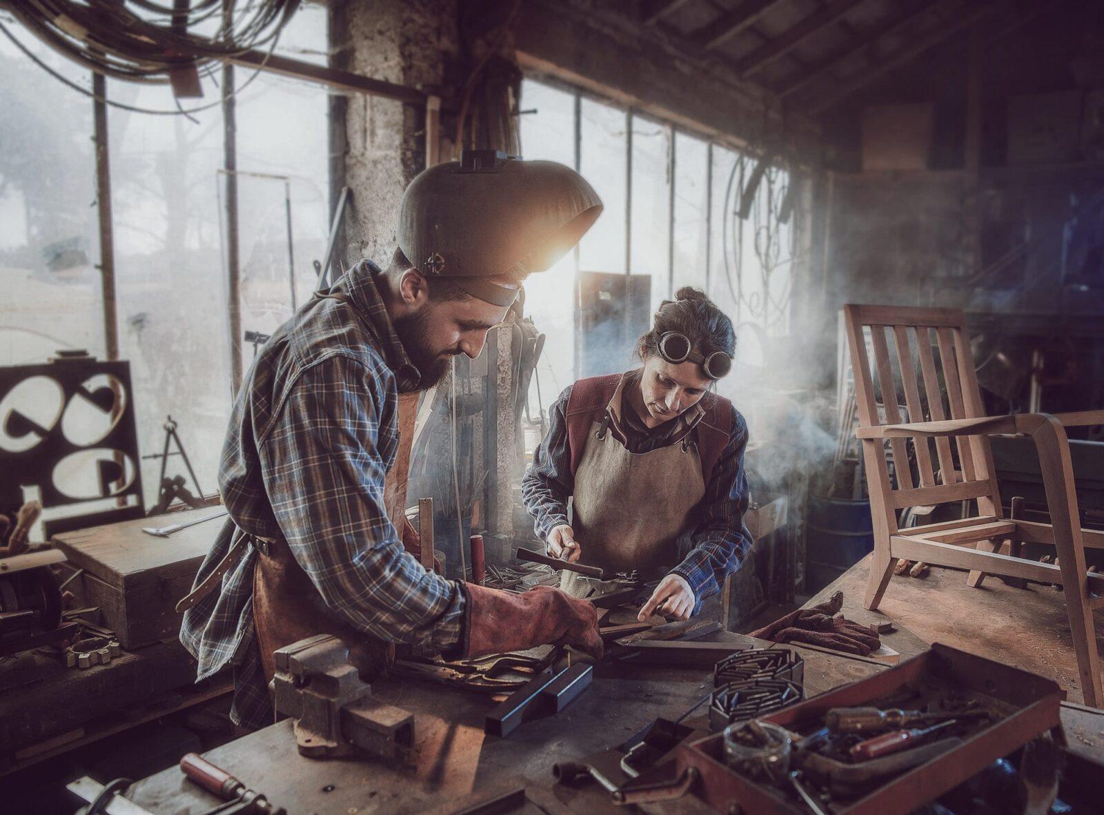 Two people in workshop