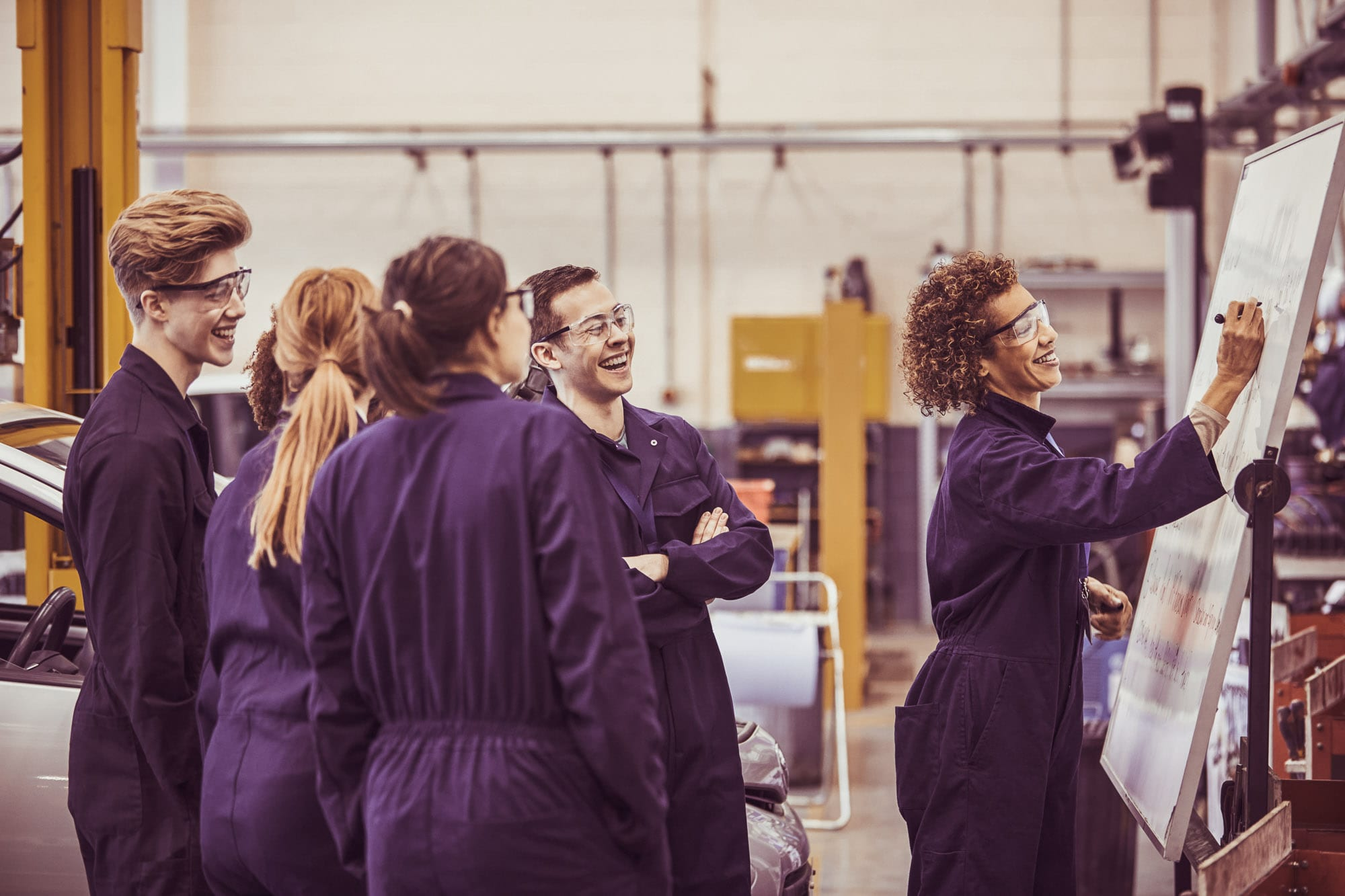 Group of students, working, apprenticeship